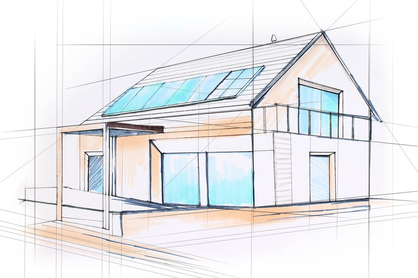 Skizze eines Hauses, denn Bleta ist von Beginn an Ihr perfekter Partner